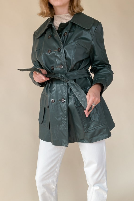 1970s Evergreen Leather Trench Jacket - image 1