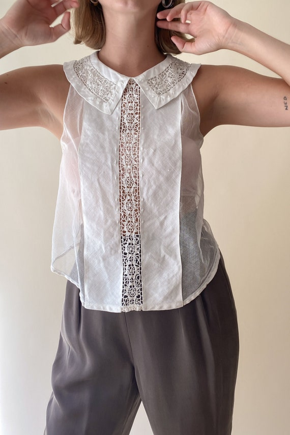 1910s Edwardian Cotton + Lace Dickie