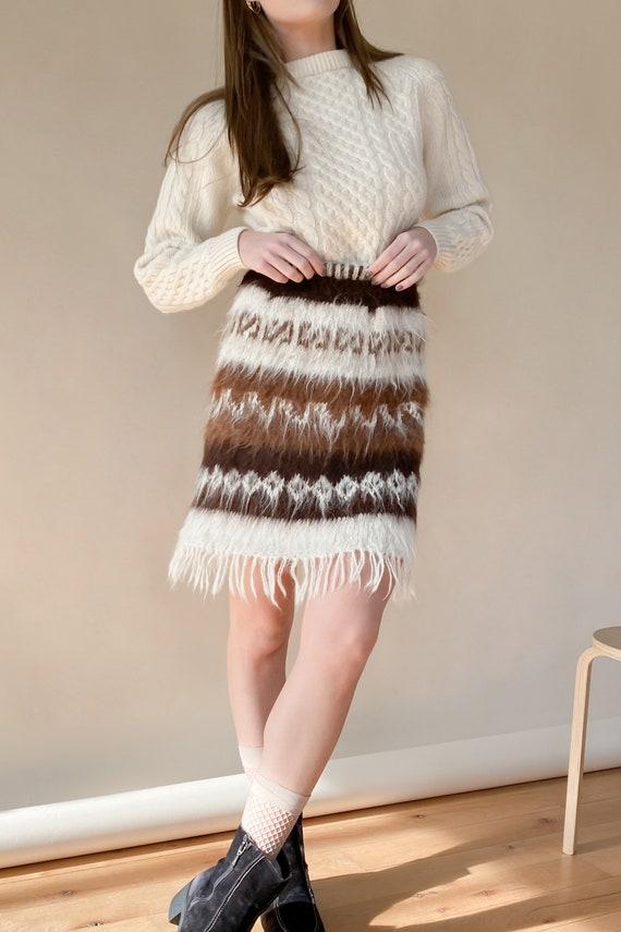 1970s Mohair Shag Knit Skirt