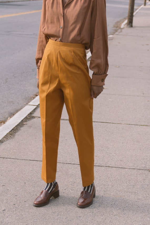 SALE 1960s Ginger Twill Cigarette Trousers