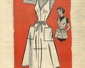 Vintage 1952 Back Wrap Apron or Jumper Dress Large Patch Pockets...Mail Order 4803 Bust 32 UNCUT