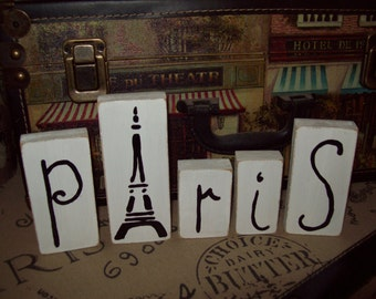 Small white Paris letter blocks Eiffel Tower,Paris decor,Paris bedroom decor,Paris theme,Paris party decor,French bedroom decor