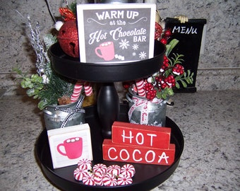 Hot Chocolate Bar, Tiered Tray sign, Cocoa Bar sign, Kitchen signs, Winter decor,  Christmas Tray decor