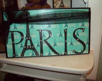 Teal PARIS sign Eiffel Tower,Paris decor,Paris theme,Paris bedroom decor,Paris party decor,French bedroom,Paris nursery decor