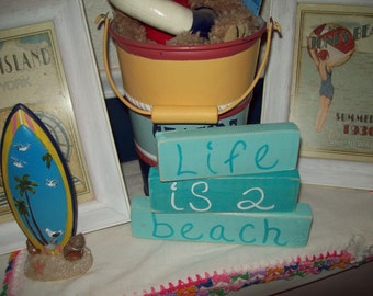 Life is a beach shelf sitter signs,coastal decor,nautical,beach decor,beach cottage,beach bathroom,beach bedroom decor,shabby chic
