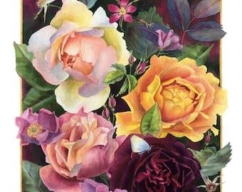 Fine Art Print of Original Watercolor Painting - June Bouquet