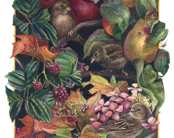 Fine Art Print of Original Watercolor Painting - Autumn Jewels (Harvest)