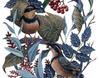 Fine Art Print of Original Watercolor Painting - Winter Friends