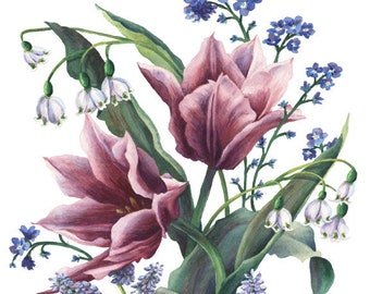 Fine Art Print of Original Watercolor Painting - Spring Posy