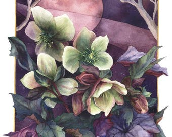 Fine Art Print of Original Watercolor Painting - Moonlight