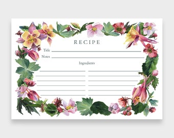 Recipe Cards, 4x6, Set of 12   Darling Buds of May