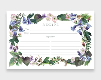 Recipe Cards, 4x6, Set of 12   Bluebell Wood