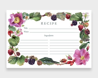 Recipe Cards, 4x6, Set of 12   Berries & Blossoms