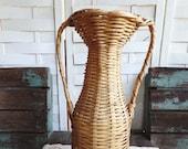 Vintage Wicker Basket Double Handle Jug Floral Arrangement Boho Rattan