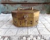 Vintage Brass Footed Cricket Box Trinket Box