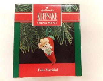 5e90016d6d7b9 Hallmark Feliz Navidad Christmas Ornament 1990 NRFB Mouse Pepper
