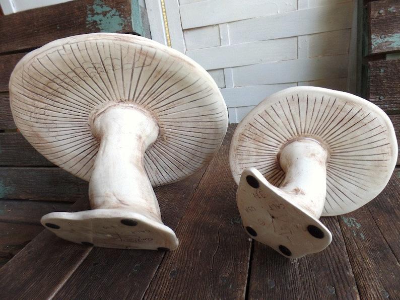 Vintage Pair White Ceramic Mushrooms California Pottery Anthony Freeman Rare Color