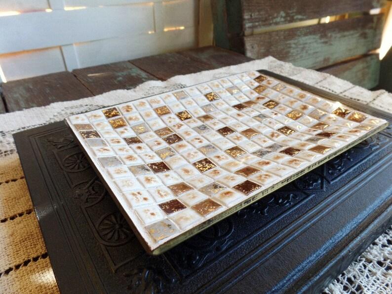 Vintage Mosaic Tile Ashtray Mid Century Modern Tobacciana