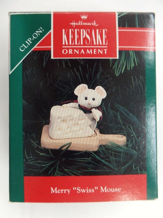 "MERRY /""SWISS/"" MOUSE HALLMARK KEEPSAKE ORNAMENT 1992"