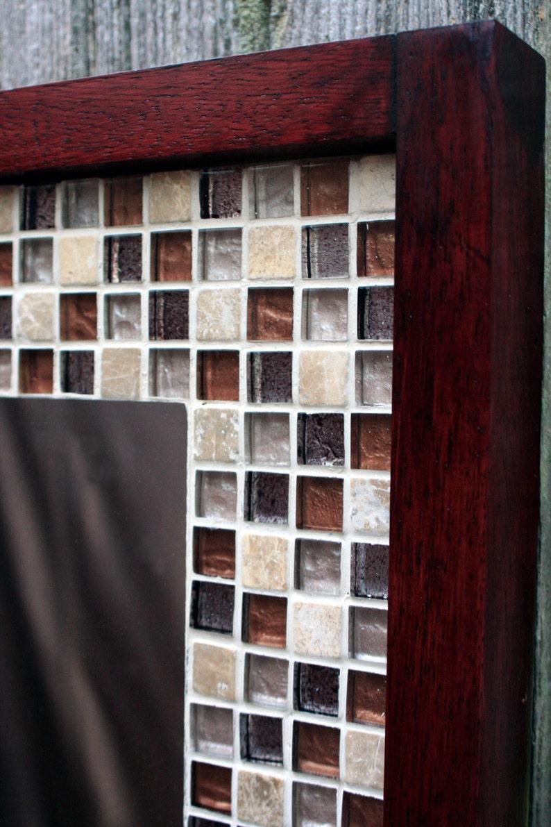 Glass Mosaic Tile Framed Mirror Tile Framed Mirror Brown Etsy