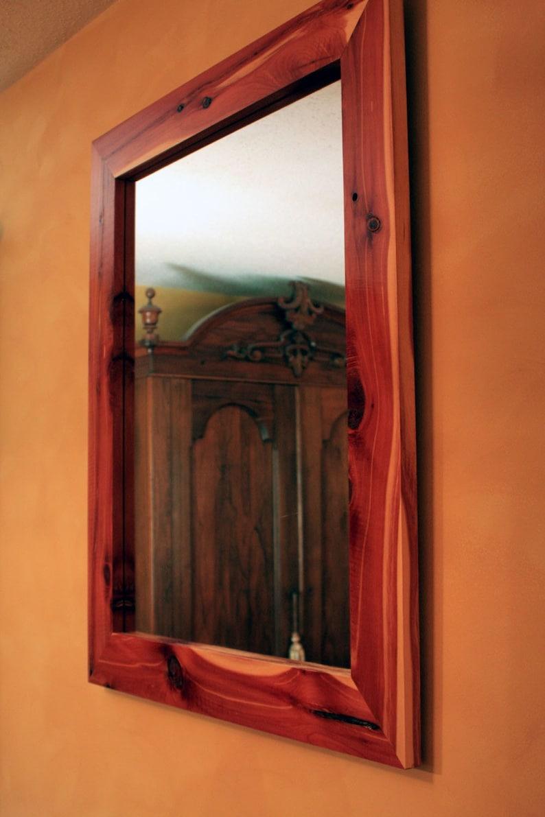 Cedar Framed Mirror  Solid Wood Framed Mirror  Natural Mirror  Organic  Mirror  Eastern Cedar Framed Mirror  30 x 36  Clear Coat Finish