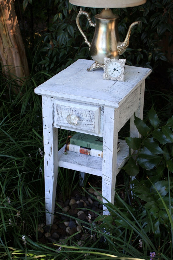 Distressed White End Table. White Bedside Table. Small End