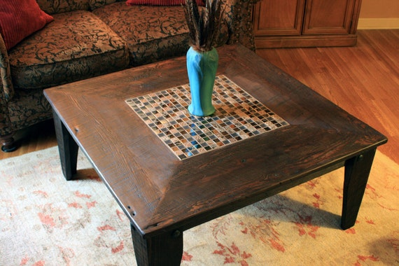Incredible Square Coffee Table Glass Stone Tile Mosaic Reclaimed Wood Rustic Contemporary Reflections Dark Brown Wax Finish Handmade Ocoug Best Dining Table And Chair Ideas Images Ocougorg