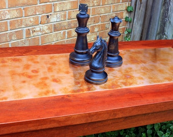 """Game Table. Small Dining Table. Solid Cherry Dining Table. Copper Table. """"Copper Patina"""" Centerpiece.  26w x 54l x 30t.  Cherry Finish"""