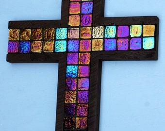 Mosaic Tile Cross.  Sparkling Cross.  Glittering Cross.  Iridescent Tile Cross.  Dark Brown Cross.  11 w x 17 w Cross.  Dark Brown Finish.