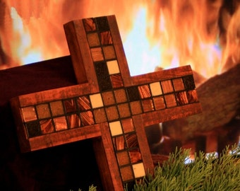 "Tile Wood Cross. Mosaic Tile Cross. Irridescent Tile Cross. Dark Brown Cross. ""Natural Brown"" Mosaic. 11 w x 17 l Cross. Dark Brown Finish."