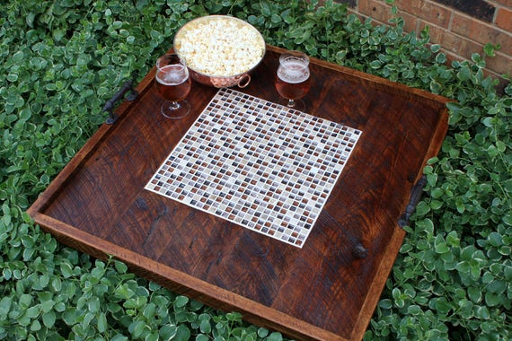 Admirable Extra Large Ottoman Tray Serving Tray Extra Large Serving Tray Extra Large Tile Tray Leather Boots Mosaic 32 X 32 Dark Brown Finish Squirreltailoven Fun Painted Chair Ideas Images Squirreltailovenorg