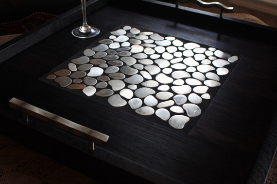 Large Modern Ottoman Tray Stainless Mosaic Centerpiece Etsy