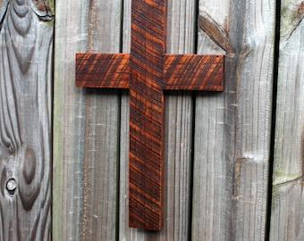 Wood Cross. Wooden Cross.  Rustic Cross.  Rustic Wooden Cross. Christmas Gift Cross. Dark Brown Cross. 11 w x 17 l. Dark Brown Finish.