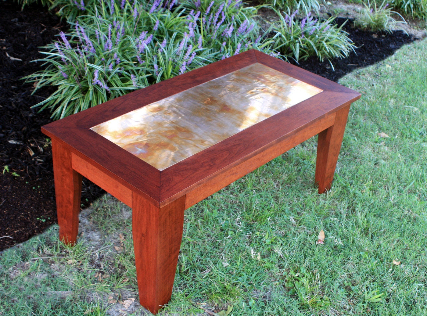 Cherry Coffee Table Distressed Copper Centerpiece Natural