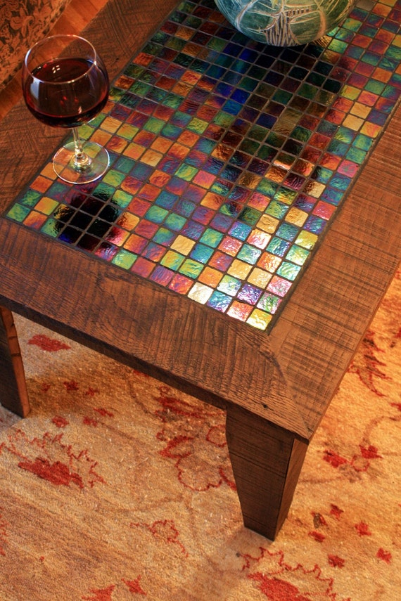 Super Large Coffee Table W Iridescent Glass Tile Inlay Mosaic Coffee Table Starry Night Mosaic 48L X 24W X 20T Light Java Finish Ocoug Best Dining Table And Chair Ideas Images Ocougorg