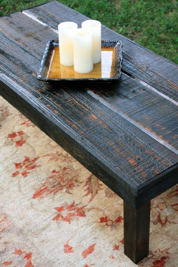 Large Rustic Coffee Table. Black Coffee Table. Rustic Wooden