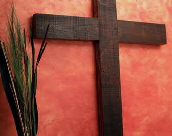 Large Wood Cross. Very Large Wooden Cross.  Church Size Cross.  Church Cross.  Dark Brown Cross.  40 w x 63 l Cross.  Dark Brown Finish