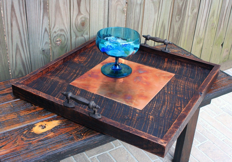 Surprising Copper Tray Large Copper Serving Tray Large Ottoman Tray Wood Copper Tray Large Copper Ottoman Tray 24 X 24 Dark Brown Finish Ncnpc Chair Design For Home Ncnpcorg