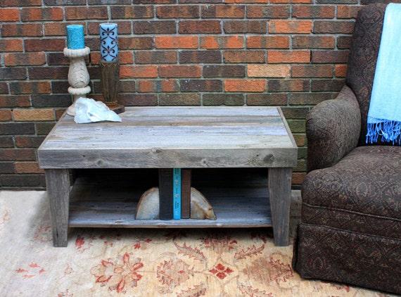Rustic Coffee Table W Shelf Grey Wood Coffee Table W Shelf Etsy