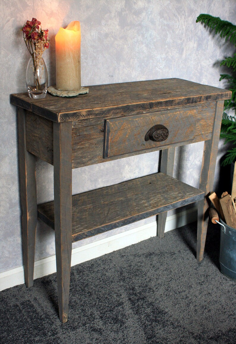 Amazing Small Entry Table Gray Wood Sofa Table Gray Reclaimed Wood Console Table Small Hallway Table 30 W X 12 D X 30T Natural Finish Pdpeps Interior Chair Design Pdpepsorg