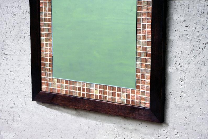 Mosaic Tile Framed Mirror Copper Glass Tile Framed Mirror Etsy