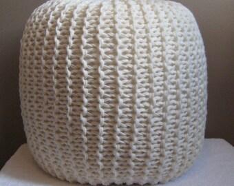 Large Knit Pouf - Cream - Not stuffed