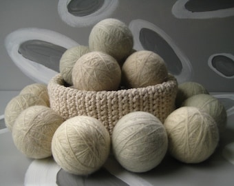 XL Large Dirty Girl Wool Dryer Balls set of 6 - cream color