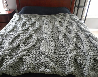 """The """"Twisted Sister"""" Chunky Knit Blanket"""