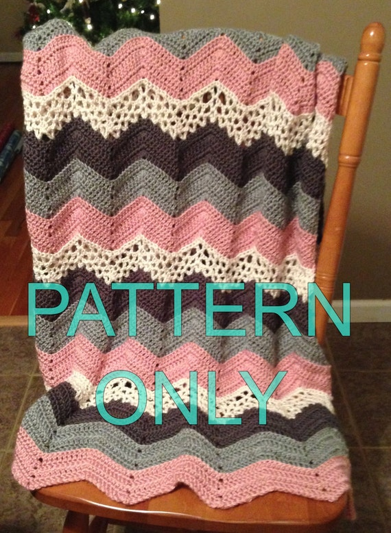 crochet PATTERN for Lacy Ripple afghan Blanket or Throw | Etsy