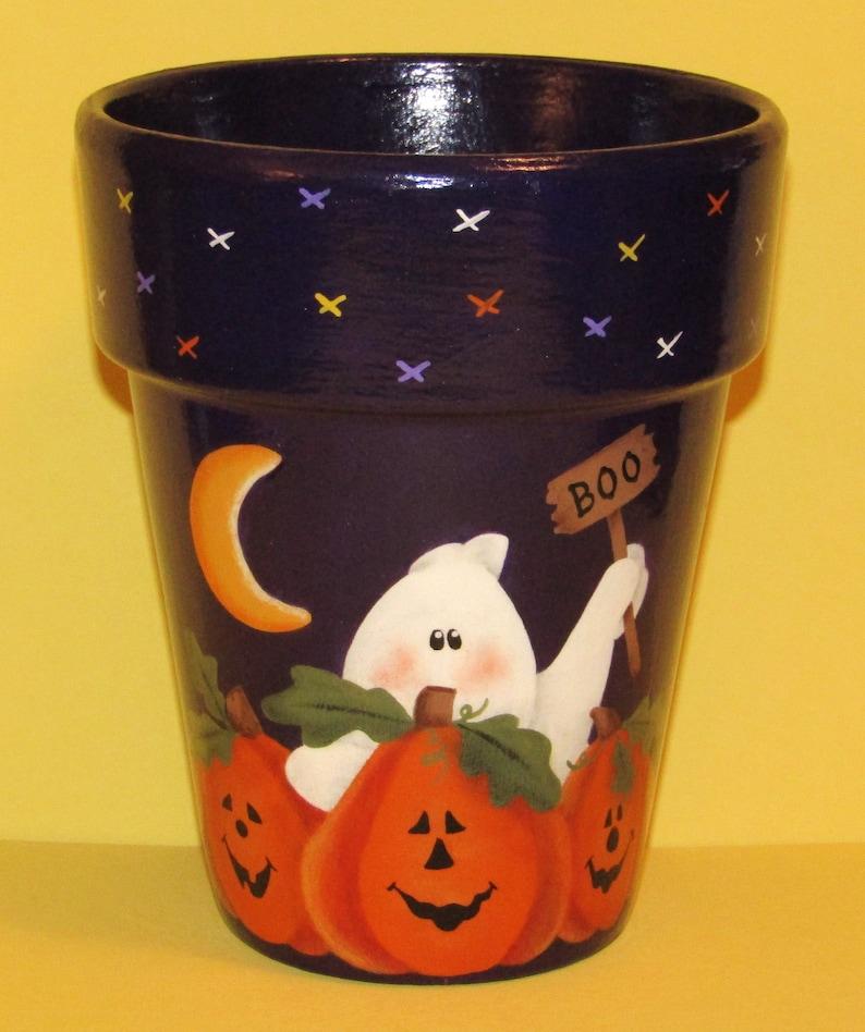 Halloween Clay Pot Ghost Pumpkin Clay Pot Halloween Home Etsy