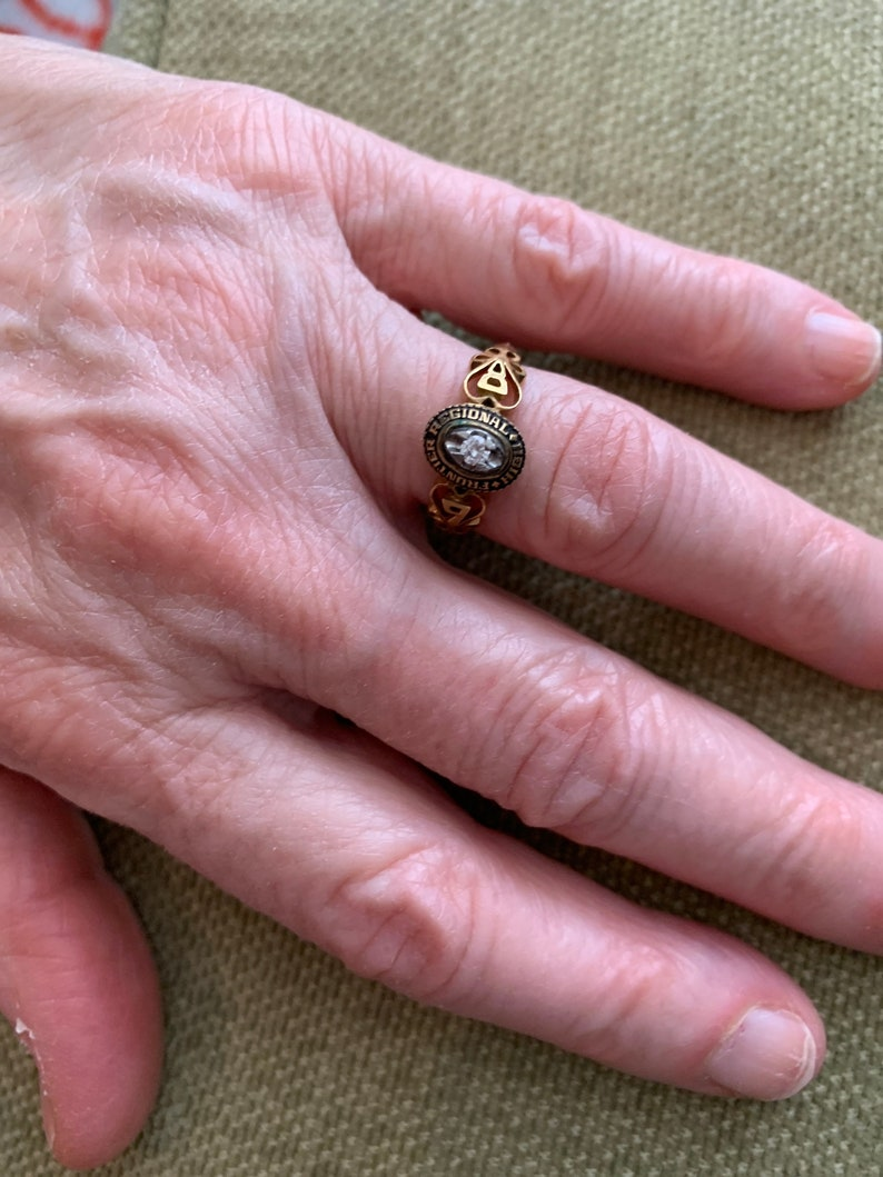 gold plated brass cz April birthstone Frontier regional high 6.5 class ring sample case
