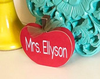 Teacher Apple Sign - Teacher Gift - Personalized Teacher Gift - Teacher Sign - Classroom Sign - Teacher Name Plate - Wood Apple