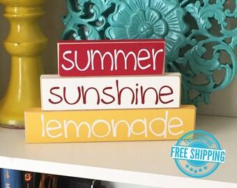 Summer Stackers- Summer Wood Sign, Summer Decor, Summer Decoration, Wood Sign, Wood Summer Sign, Sunshine Sign, Lemonade Sign,