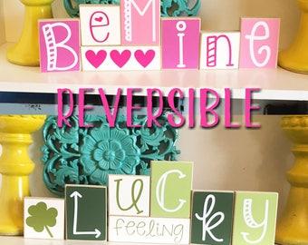 Reversible Valentine's Day & St Patricks Day Blocks- Reversible Sign - Valentines Decor - St. Patricks Decor - Valentines Sign - Lucky Sign